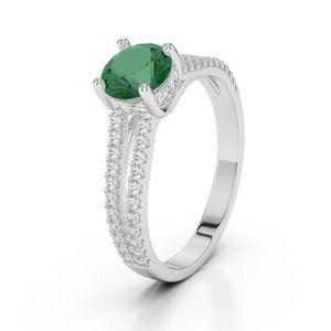Jewelry - Prong set emerald with diamonds 3.75 carats Weddin